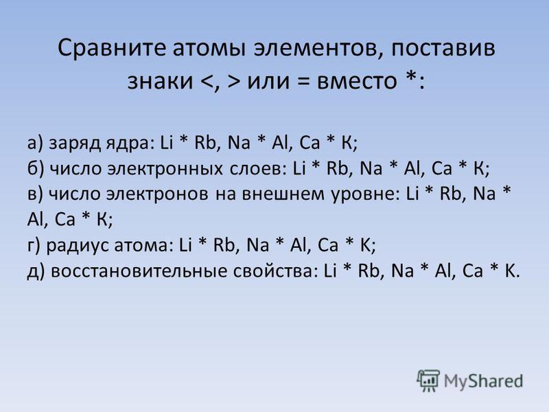Сравните атомы элементов, поставив знаки или = вместо *: а) заряд ядра: Li * Rb, Na * Al, Ca * К; б) число электронных слоев: Li * Rb, Na * Al, Ca * К; в) число электронов на внешнем уровне: Li * Rb, Na * Al, Ca * К; г) радиус атома: Li * Rb, Na * Al