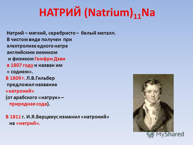 НАТРИЙ (Natrium) 11 Na Натрий – мягкий, серебристо – белый металл. В чистом виде получен при электролизе едкого натра английским химиком и физиком Гемфри Дэви в 1807 году и назван им « содием». В 1809 г. Л.В.Гильбер предложил название «натроний» (от