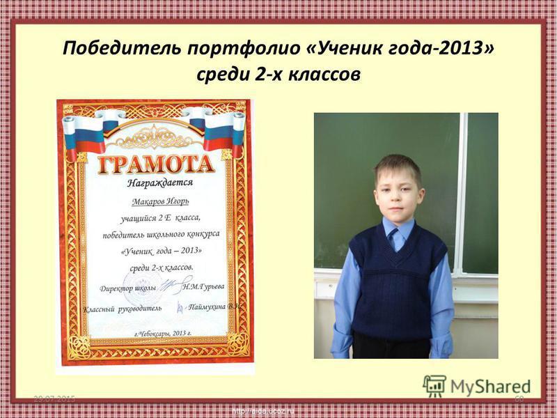 Победитель портфолио «Ученик года-2013» среди 2-х классов 29.07.201560