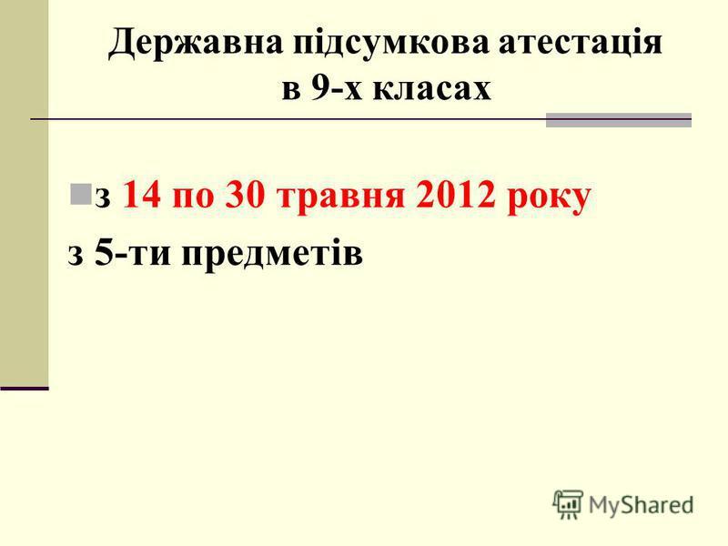 Державна підсумкова атестація в 9-х класах з 14 по 30 травня 2012 року з 5-ти предметів