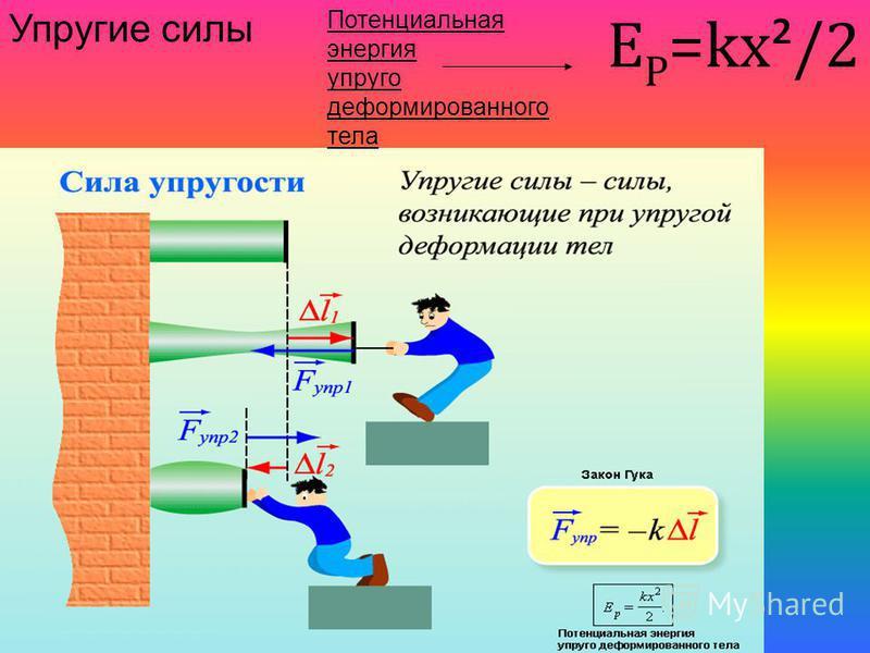 Упругие силы Потенциальная энергия упруго деформированного тела Е P =kx ² /2