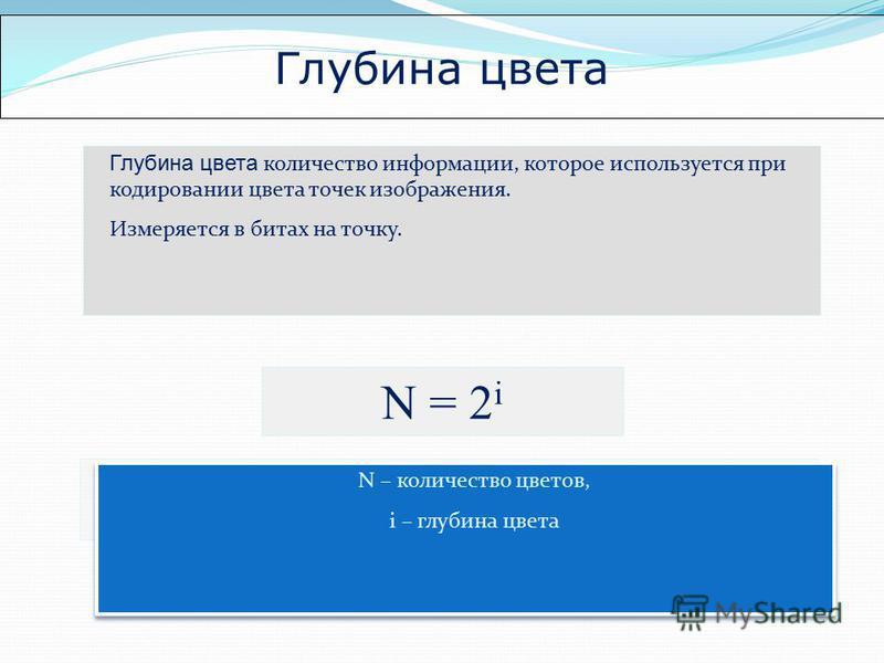 Глубина цвета Глубина цвета количество информации, которое используется при кодировании цвета точек изображения. Измеряется в битах на точку. N = 2 i N – количество возможных событий, i – количество информации N – количество цветов, i – глубина цвета