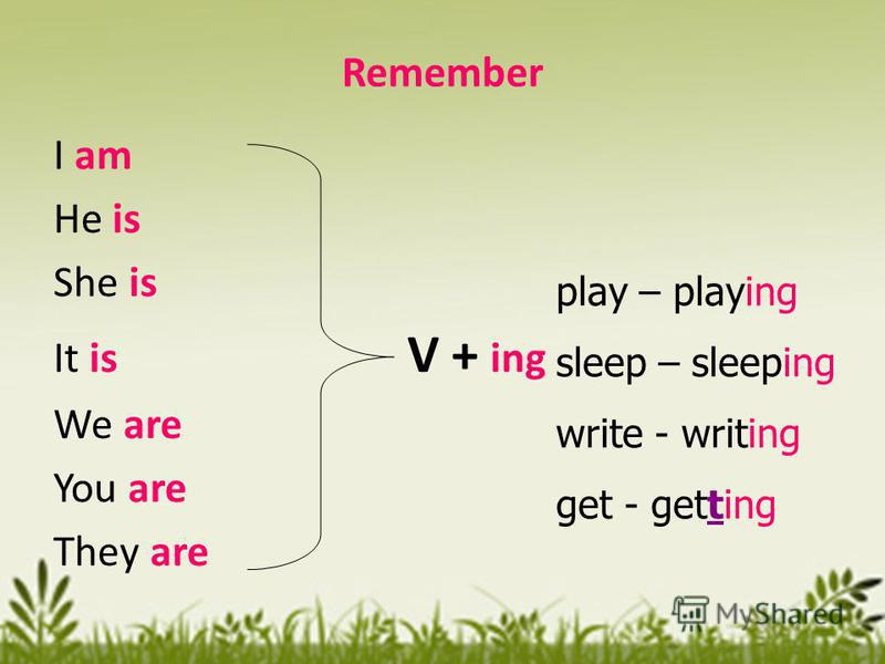 Remember I am He is She is It is V + ing We are You are They are play – playing sleep – sleeping write - writing get - getting