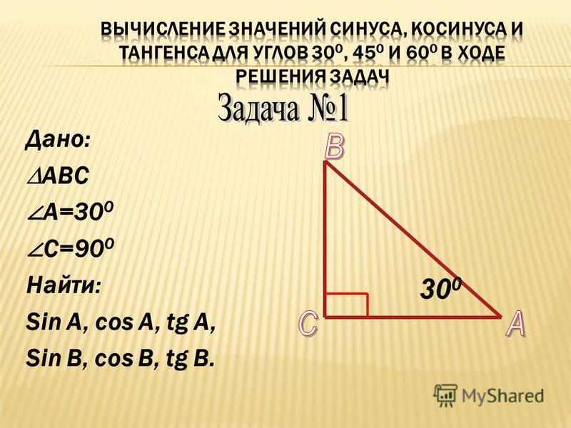 Дано: АВС А=30 0 С=90 0 Найти: Sin A, cos A, tg A, Sin B, cos B, tg B. 30 0
