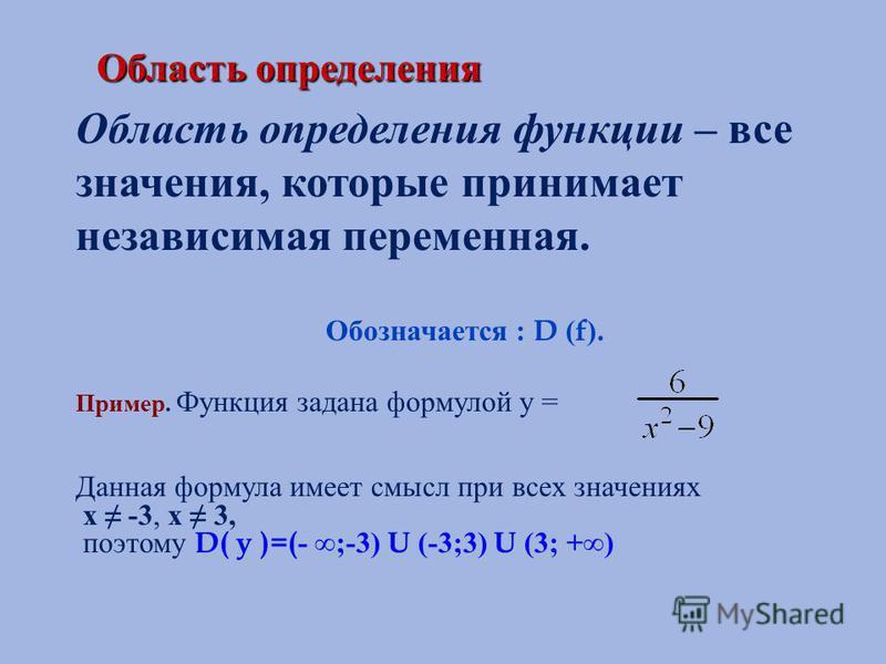 Область определения Область определения функции – все значения, которые принимает независимая переменная. Обозначается : D ( f ). Пример. Функция задана формулой у = Данная формула имеет смысл при всех значениях х -3, х 3, поэтому D( y )=( - ;-3) U (