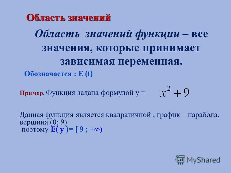Область значений Область значений Область значений функции – все значения, которые принимает зависимая переменная. Обозначается : E (f) Пример. Функция задана формулой у = Данная функция является квадратичной, график – парабола, вершина (0; 9) поэтом