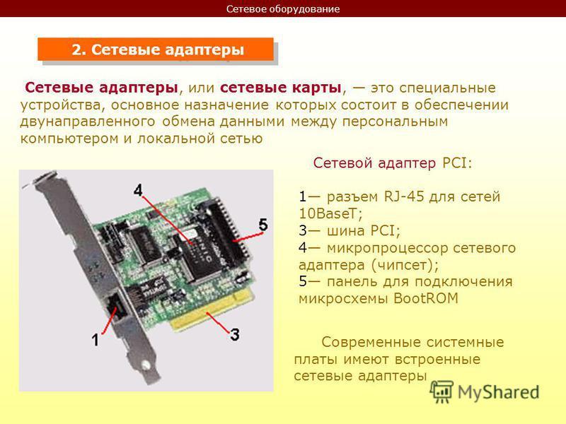 Сетевое оборудование 2. Сетевые адаптеры Сетевые адаптеры, или сетевые карты, это специальные устройства, основное назначение которых состоит в обеспечении двунаправленного обмена данными между персональным компьютером и локальной сетью Сетевой адапт