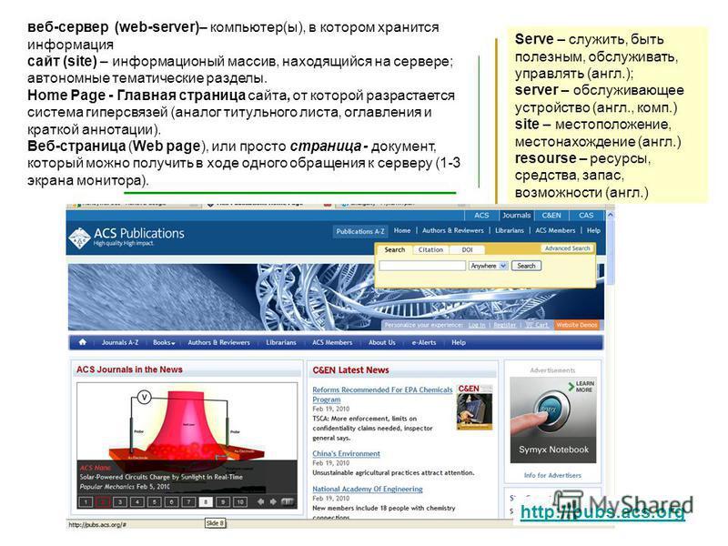 МПХИ_201117 Serve – служить, быть полезным, обслуживать, управлять (англ.); server – обслуживающее устройство (англ., комп.) site – местоположение, местонахождение (англ.) resourse – ресурсы, средства, запас, возможности (англ.) веб-сервер (web-serve