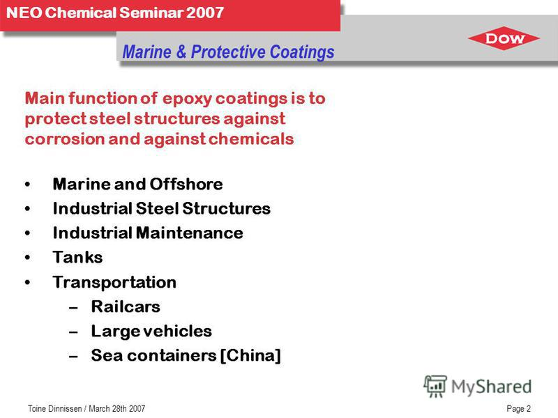 NEO Chemical Seminar 2007 Toine Dinnissen / March 28th 2007Page 2 Marine & Protective Coatings Main function of epoxy coatings is to protect steel structures against corrosion and against chemicals Marine and Offshore Industrial Steel Structures Indu
