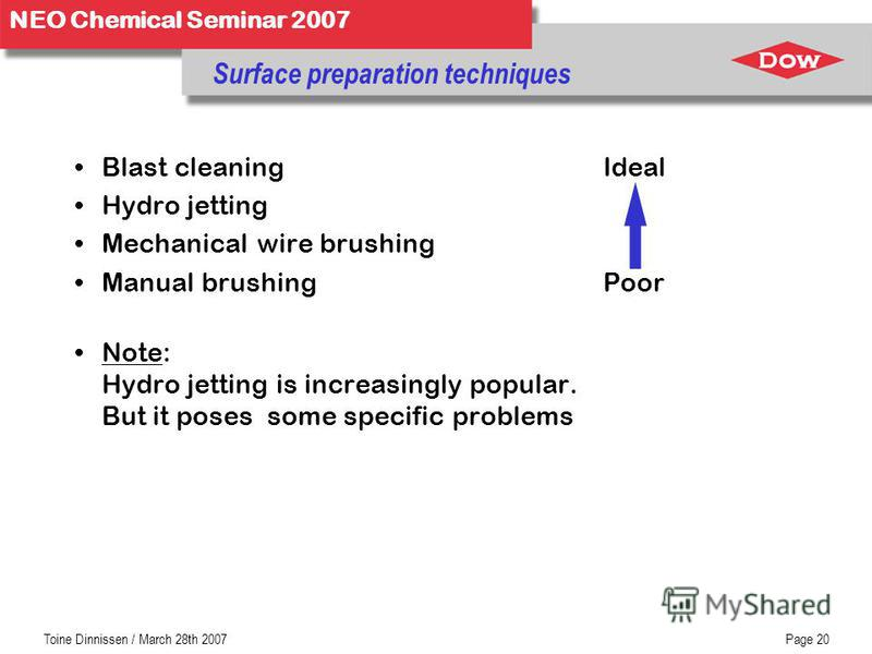 NEO Chemical Seminar 2007 Toine Dinnissen / March 28th 2007Page 20 Blast cleaningIdeal Hydro jetting Mechanical wire brushing Manual brushingPoor Note: Hydro jetting is increasingly popular. But it poses some specific problems Surface preparation tec
