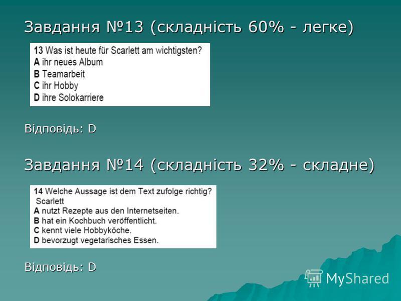 Завдання 13 (складність 60% - легке) Відповідь: D Завдання 14 (складність 32% - складне) Відповідь: D