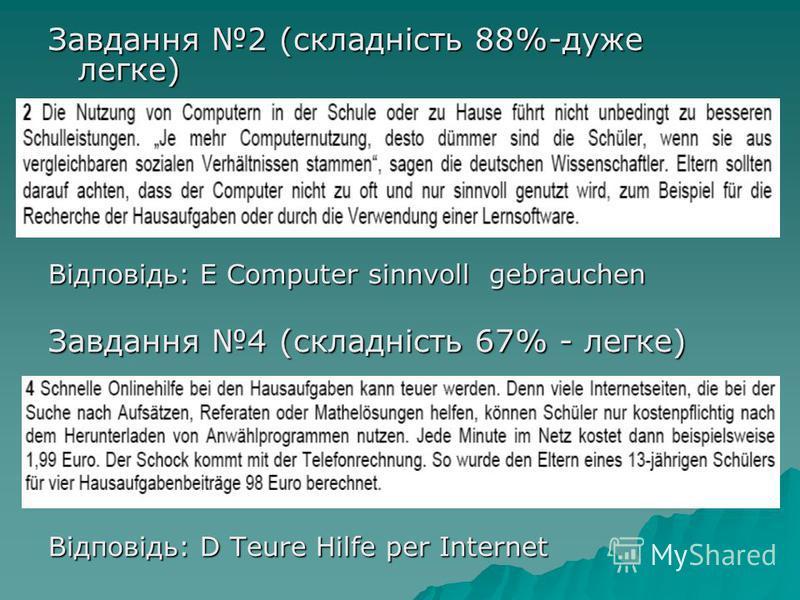 Завдання 2 (складність 88%-дуже легке) Відповідь: E Computer sinnvoll gebrauchen Завдання 4 (складність 67% - легке) Відповідь: D Teure Hilfe per Internet