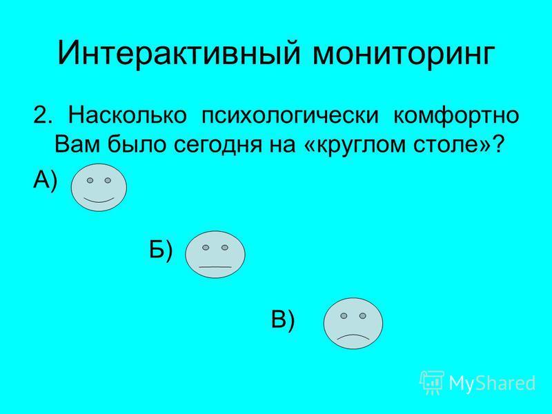 Интерактивный мониторинг 2. Насколько психологически комфортно Вам было сегодня на «круглом столе»? А) Б) В)