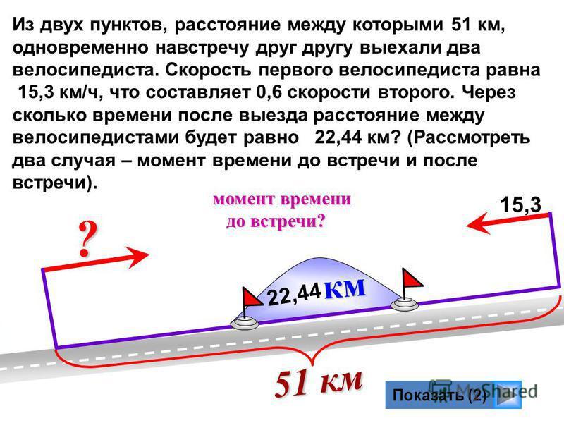 ? Показать (2) Из двух пунктов, расстояние между которыми 51 км, одновременно навстречу друг другу выехали два велосипедиста. Скорость первого велосипедиста равна 15,3 км/ч, что составляет 0,6 скорости второго. Через сколько времени после выезда расс