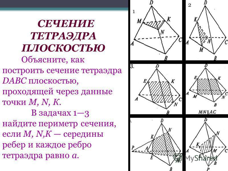 СЕЧЕНИЕ ТЕТРАЭДРА ПЛОСКОСТЬЮ Объясните, как построить сечение тетраэдра DABC плоскостью, проходящей через данные точки М, N, К. В задачах 13 найдите периметр сечения, если М, N,К середины ребер и каждое ребро тетраэдра равно а. 1 2