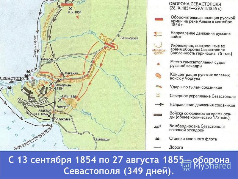 С 13 сентября 1854 по 27 августа 1855 – оборона Севастополя (349 дней).