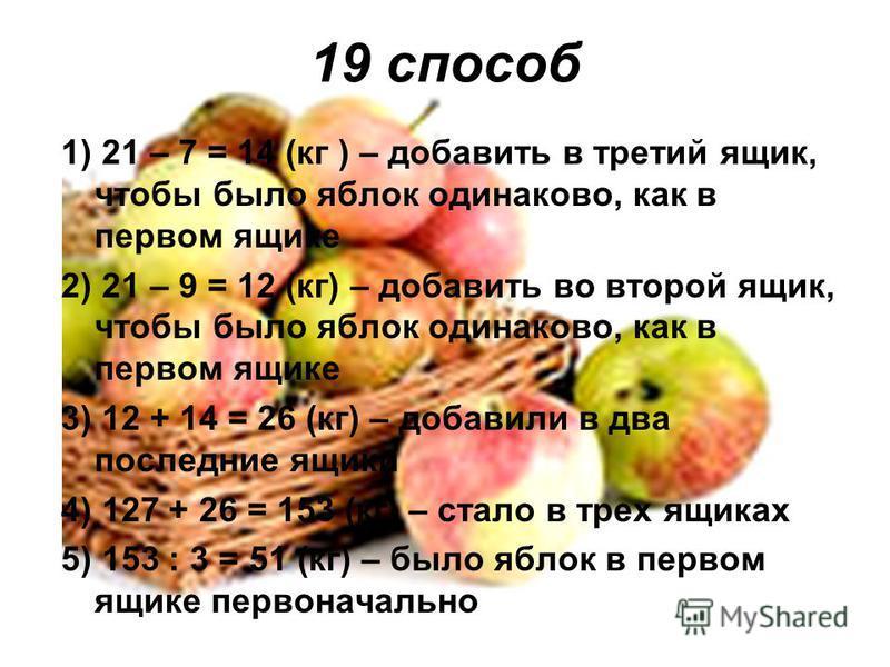 19 способ 1) 21 – 7 = 14 (кг ) – добавить в третий ящик, чтобы было яблок одинаково, как в первом ящике 2) 21 – 9 = 12 (кг) – добавить во второй ящик, чтобы было яблок одинаково, как в первом ящике 3) 12 + 14 = 26 (кг) – добавили в два последние ящик