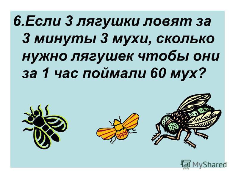 6. Если 3 лягушки ловят за 3 минуты 3 мухи, сколько нужно лягушек чтобы они за 1 час поймали 60 мух?