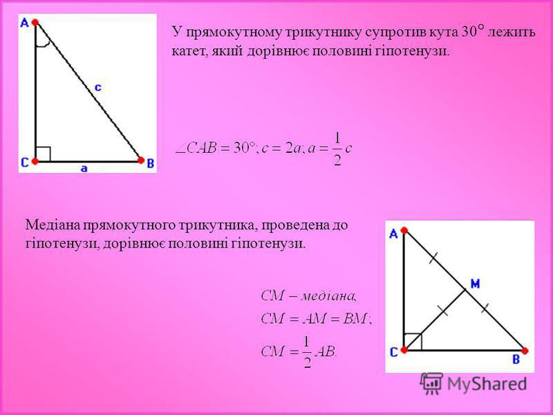 У прямокутному трикутнику супротив кута 30 ° лежить катет, який дорівнює половині гіпотенузи. Медіана прямокутного трикутника, проведена до гіпотенузи, дорівнює половині гіпотенузи.