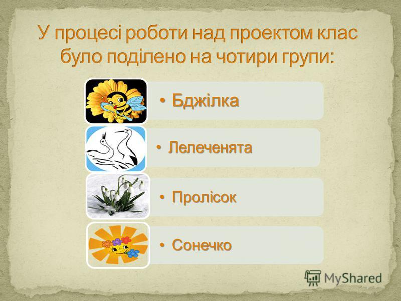 БджілкаБджілка ЛелеченятаЛелеченята ПролісокПролісок СонечкоСонечко