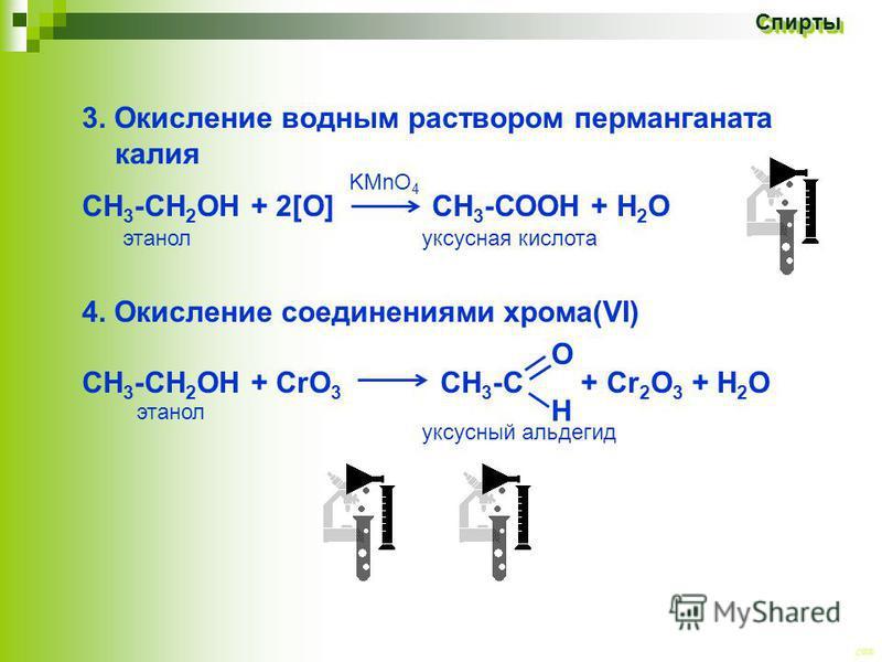 CEE Спирты Спирты 3. Окисление водныйым раствором перманганата калия СН 3 -СН 2 ОН + 2[O] СН 3 -СООН + Н 2 О 4. Окисление соединениями хрома(VI) СН 3 -СН 2 OH + CrО 3 СН 3 -С + Cr 2 O 3 + H 2 O этанол О Н KMnO 4 уксусная кислота уксусный альдегид