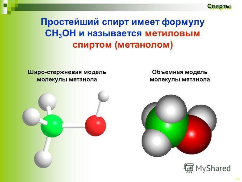 CEE Спирты Спирты Простейший спирт имеет формулу СН 3 ОН и называется метиловым спиртом (метанолом) Объемная модель молекулы метанола Шаро-стержневая модель молекулы метанола