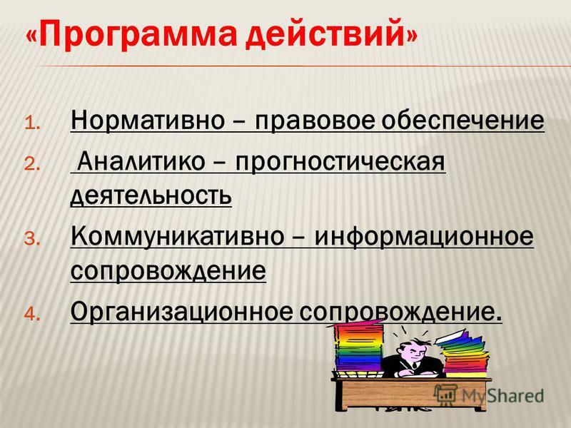 «Программа действий» 1. Нормативно – правовое обеспечение 2. Аналитико – прогностическая деятельность 3. Коммуникативно – информационное сопровождение 4. Организационное сопровождение.