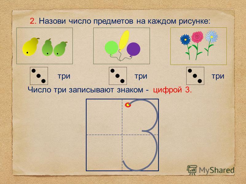 2. Назови число предметов на каждом рисунке: три Число три записывают знаком - цифрой 3.