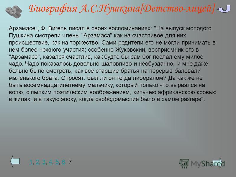 Биография А.С.Пушкина[Детство-лицей] Арзамасец Ф. Вигель писал в своих воспоминаниях: