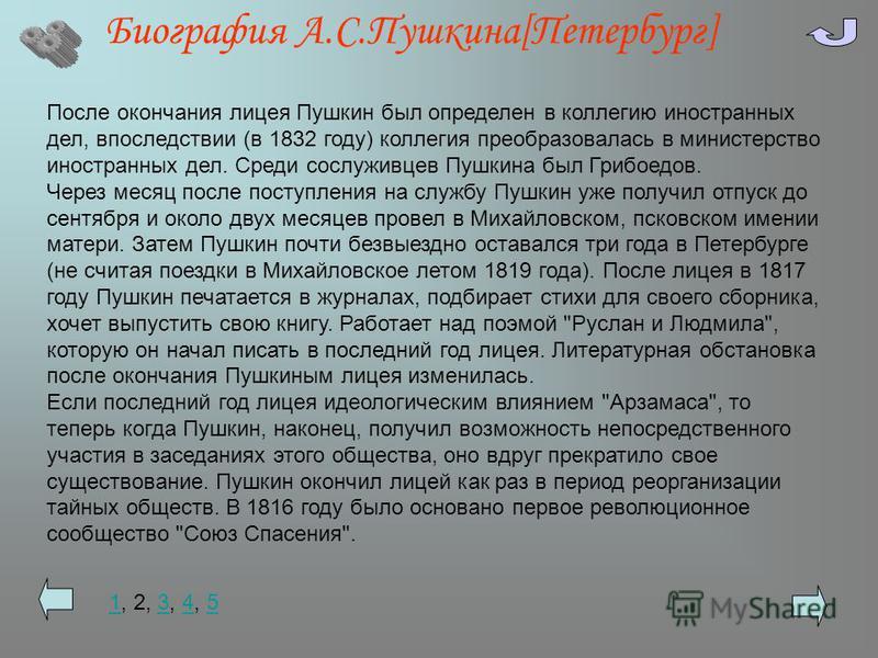 Биография А.С.Пушкина[Петербург] После окончания лицея Пушкин был определен в коллегию иностранных дел, впоследствии (в 1832 году) коллегия преобразовалась в министерство иностранных дел. Среди сослуживцев Пушкина был Грибоедов. Через месяц после пос