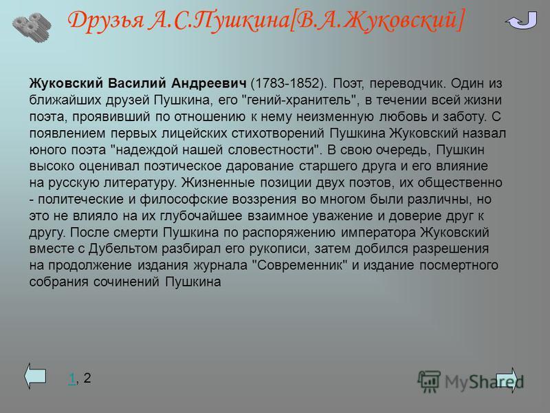 Друзья А.С.Пушкина[В.А.Жуковский] 11, 2 Жуковский Василий Андреевич (1783-1852). Поэт, переводчик. Один из ближайших друзей Пушкина, его
