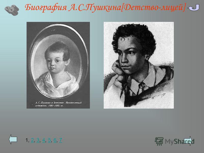 Биография А.С.Пушкина[Детство-лицей] 1, 2, 3, 4, 5, 6, 7234567