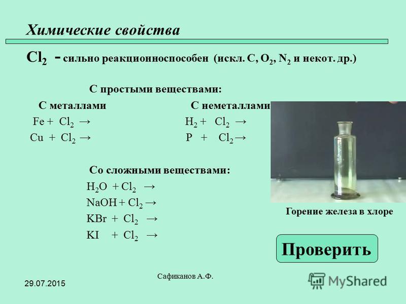 Химические свойства Cl 2 - сильно реакционно способен (искл. C, O 2, N 2 и не кот. др.) С простыми веществами: С металлами С неметаллами Fe + Cl 2 H 2 + Cl 2 Cu + Cl 2 P + Cl 2 Со сложными веществами: H 2 O + Cl 2 NaOH + Cl 2 KBr + Cl 2 KI + Cl 2 Саф