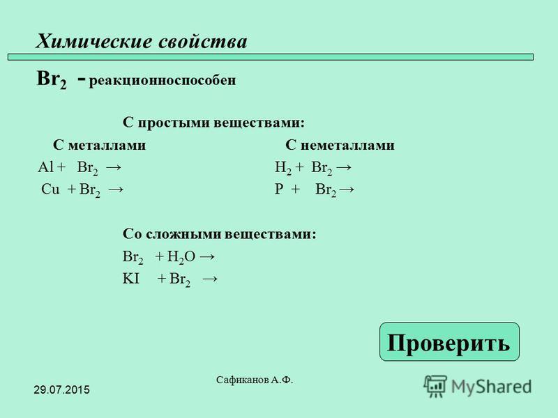 Химические свойства Br 2 - реакционно способен С простыми веществами: С металлами С неметаллами Al + Br 2 H 2 + Br 2 Cu + Br 2 P + Br 2 Со сложными веществами: Br 2 + H 2 O KI + Br 2 Сафиканов А.Ф. Проверить 29.07.2015