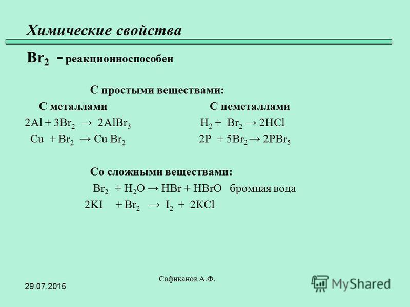 Химические свойства Br 2 - реакционно способен С простыми веществами: С металлами С неметаллами 2Al + 3Br 2 2AlBr 3 H 2 + Br 2 2HCl Cu + Br 2 Cu Br 2 2P + 5Br 2 2PBr 5 Со сложными веществами: Br 2 + H 2 O HBr + HBrO бромная вода 2KI + Br 2 I 2 + 2КCl