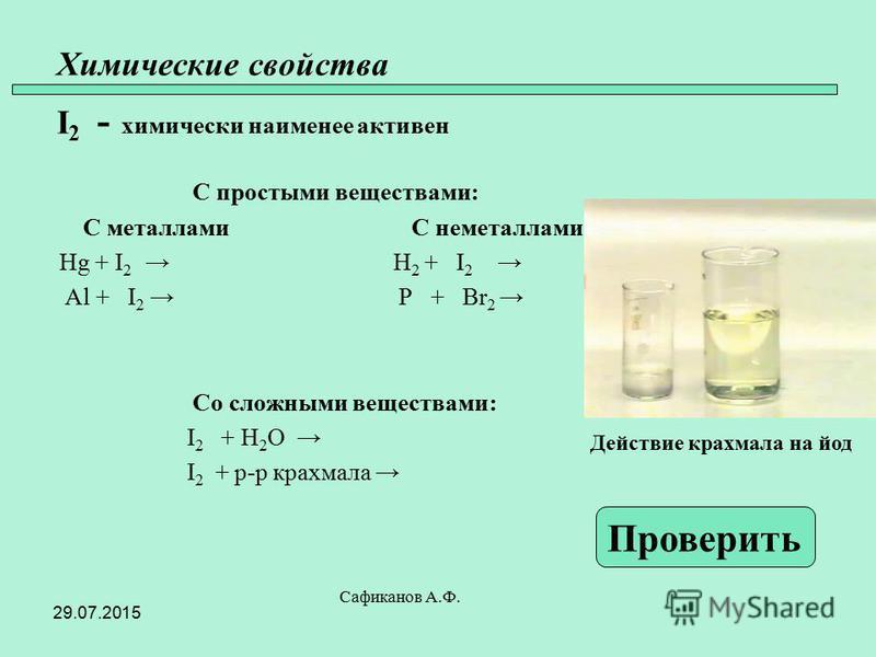 Химические свойства I 2 - химически наименее активен С простыми веществами: С металлами С неметаллами Hg + I 2 H 2 + I 2 Al + I 2 P + Br 2 Со сложными веществами: I 2 + H 2 O I 2 + р-р крахмала Сафиканов А.Ф. Проверить Действие крахмала на йод 29.07.