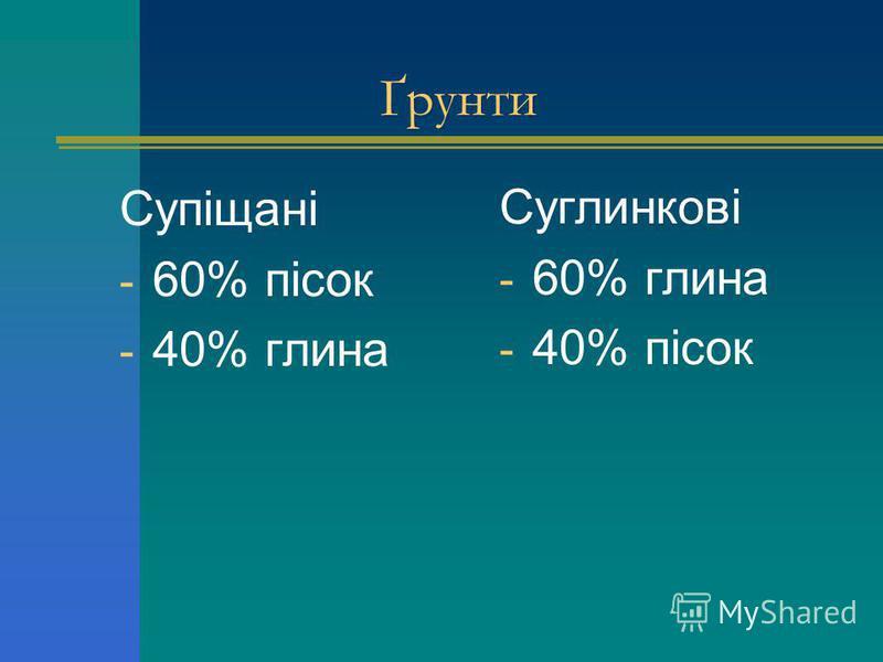 Супіщані - 60% пісок - 40% глина Суглинкові - 60% глина - 40% пісок Ґрунти