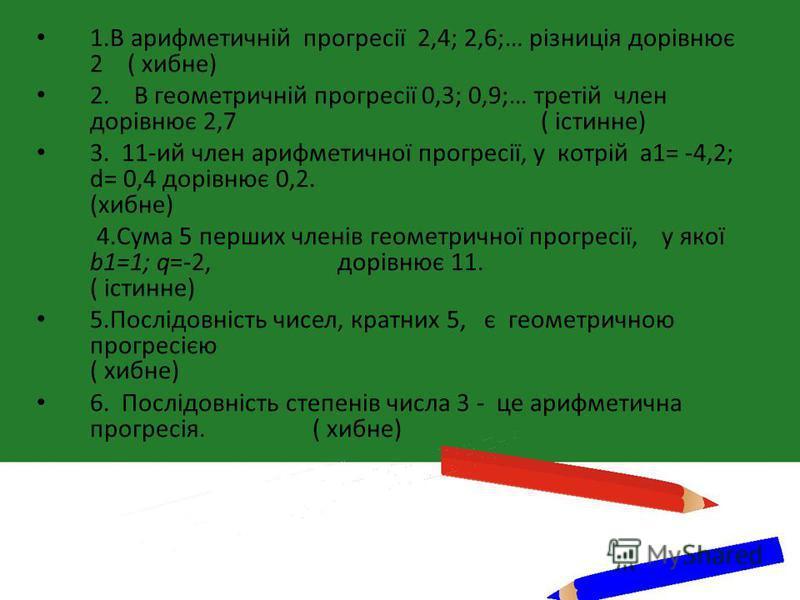 1.В арифметичній прогресії 2,4; 2,6;… різниція дорівнює 2 ( хибне) 2. В геометричній прогресії 0,3; 0,9;… третій член дорівнює 2,7 ( істинне) 3. 11-ий член арифметичної прогресії, у котрій а1= -4,2; d= 0,4 дорівнює 0,2. (хибне) 4.Сума 5 перших членів