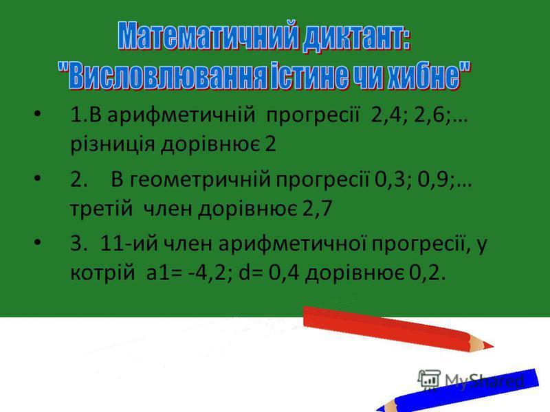 1.В арифметичній прогресії 2,4; 2,6;… різниція дорівнює 2 2. В геометричній прогресії 0,3; 0,9;… третій член дорівнює 2,7 3. 11-ий член арифметичної прогресії, у котрій а1= -4,2; d= 0,4 дорівнює 0,2.