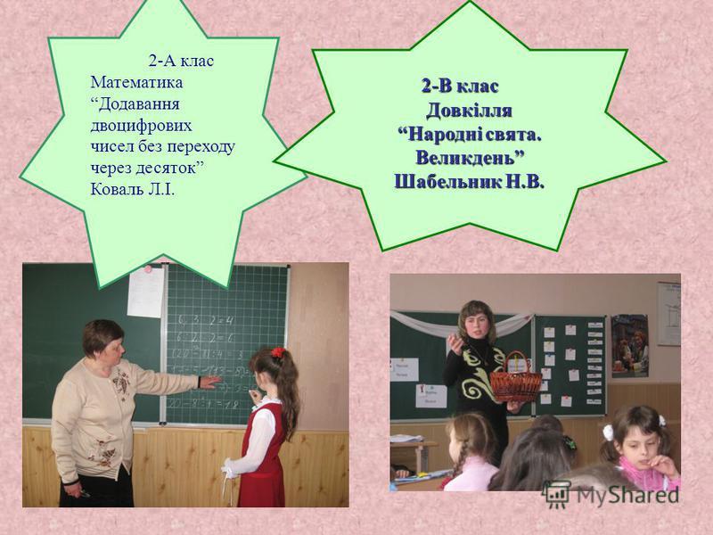2-А клас Математика Додавання двоцифрових чисел без переходу через десяток Коваль Л.І. 2-В клас 2-В класДовкілля Народні свята. Великдень Шабельник Н.В.