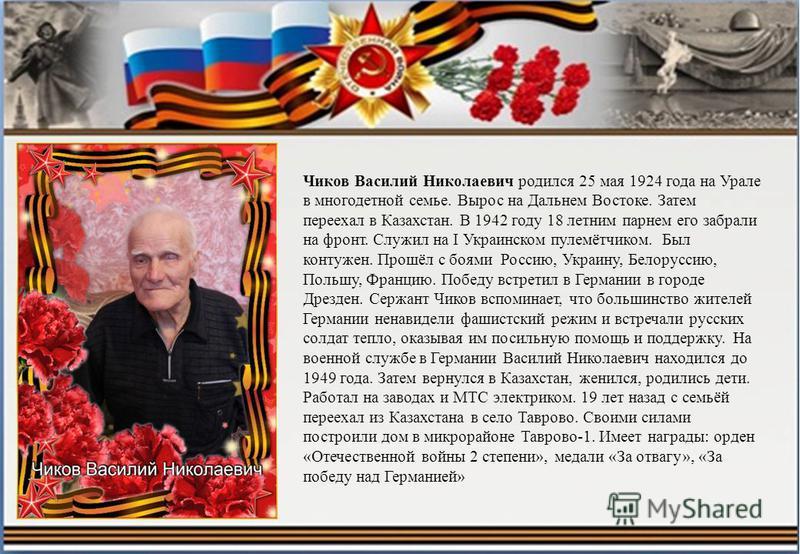 Чиков Василий Николаевич родился 25 мая 1924 года на Урале в многодетной семье. Вырос на Дальнем Востоке. Затем переехал в Казахстан. В 1942 году 18 летним парнем его забрали на фронт. Служил на I Украинском пулемётчиком. Был контужен. Прошёл с боями