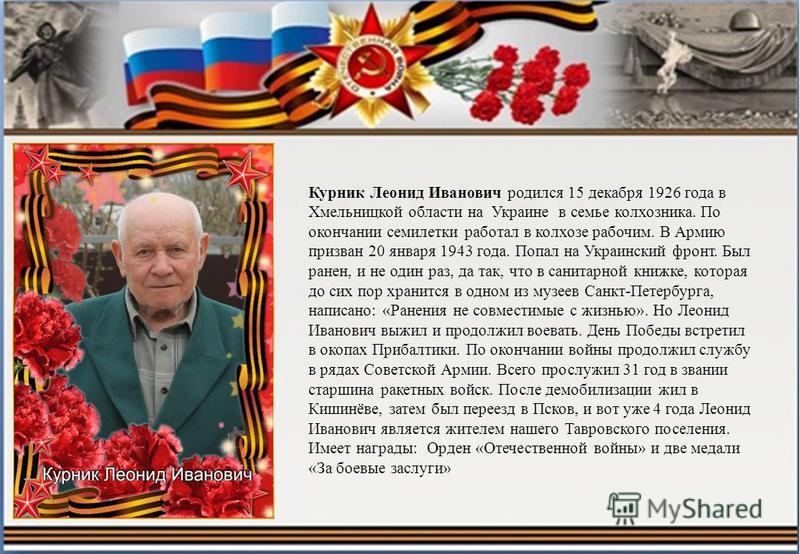 Курник Леонид Иванович родился 15 декабря 1926 года в Хмельницкой области на Украине в семье колхозника. По окончании семилетки работал в колхозе рабочим. В Армию призван 20 января 1943 года. Попал на Украинский фронт. Был ранен, и не один раз, да та