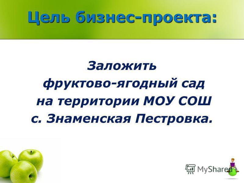 Цель бизнес-проекта: Заложить фруктово-ягодный сад на территории МОУ СОШ с. Знаменская Пестровка.