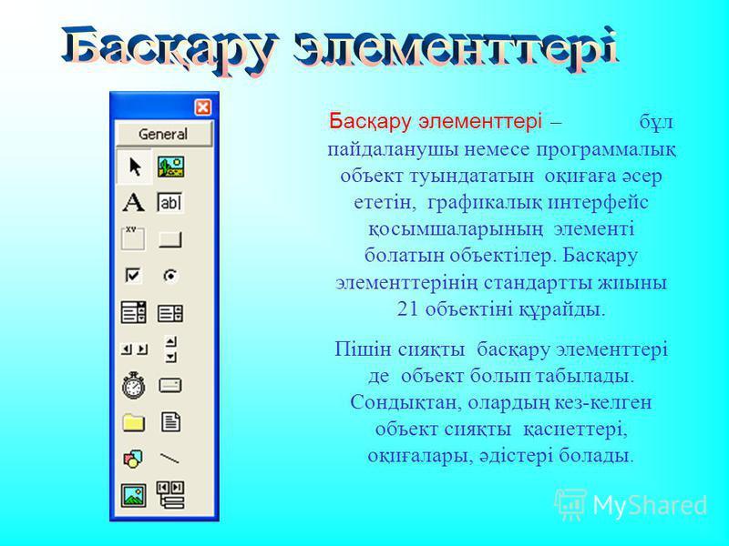 Басқару элементтері – бұл пайдаланушы немесе программалық объект туындататын оқиғаға әсер ететін, графикалық интерфейс қосымшаларының элементі болатын объектілер. Басқару элементтерінің стандартты жиыны 21 объектіні құрайды. Пішін сияқты басқару элем