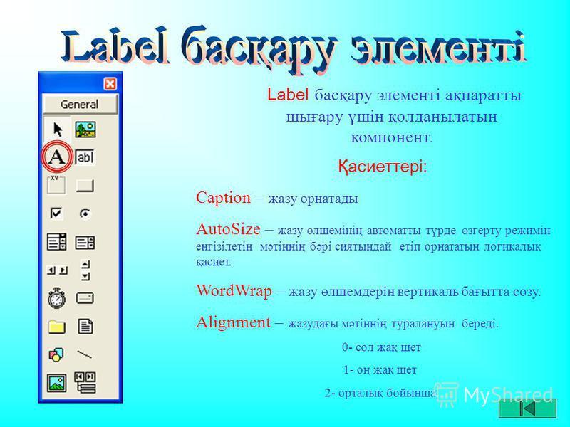 Label басқару элементі ақпаратты шығару үшін қолданылатын компонент. Қасиеттері: Caption – жазу орнатады AutoSize – жазу өлшемінің автоматты түрде өзгерту режимін енгізілетін мәтіннің бәрі сиятындай етіп орнататын логикалық қасиет. WordWrap – жазу өл