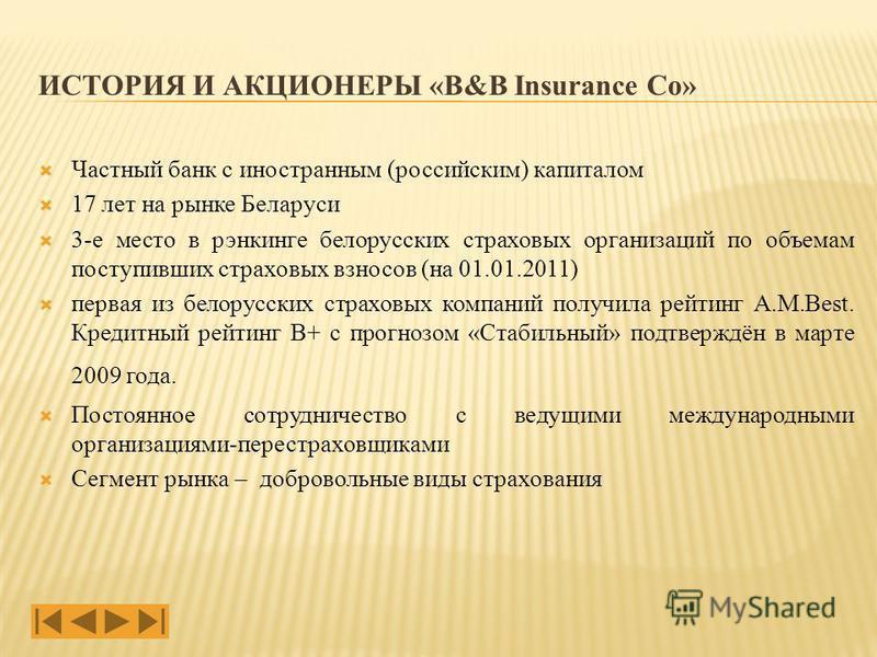 Частный банк с иностранным (российским) капиталом 17 лет на рынке Беларуси 3-е место в рэнкинге белорусских страховых организаций по объемам поступивших страховых взносов (на 01.01.2011) первая из белорусских страховых компаний получила рейтинг A.M.B