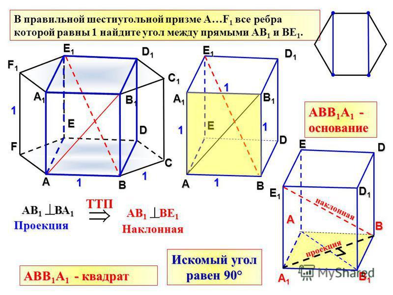 В правильной шестиугольной призме А…F 1 все ребра которой равны 1 найдите угол между прямыми АВ 1 и ВЕ 1. А B C D E F А1А1А1А1 B1B1B1B1 C1C1C1C1 D1D1D1D1 E1E1E1E1 F1F1F1F1 1 1 1 А B D E А1А1А1А1 D1D1D1D1 E1E1E1E1 B1B1B1B1 А1А1А1А1 B1B1B1B1 B A E1E1E1