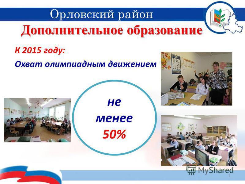 Дополнительное образование 1 Орловский район К 2015 году: Охват олимпиадным движением не менее 50%