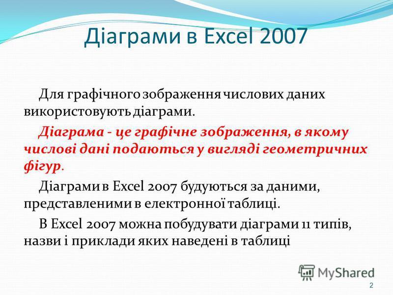 Діаграми в Excel 2007 Для графічного зображення числових даних використовують діаграми. Діаграма - це графічне зображення, в якому числові дані подаються у вигляді геометричних фігур. Діаграми в Excel 2007 будуються за даними, представленими в електр