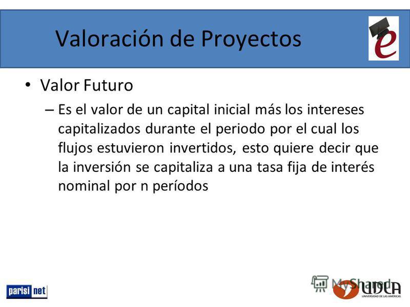 Valoración de Proyectos Valor Futuro – Es el valor de un capital inicial más los intereses capitalizados durante el periodo por el cual los flujos estuvieron invertidos, esto quiere decir que la inversión se capitaliza a una tasa fija de interés nomi